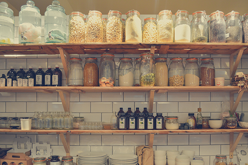 Jars and Containers with dried goods in a pantry