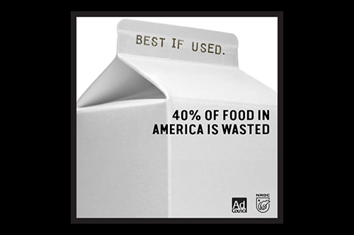 Milk Cartoon with best if used by date - 40% of food in america is wasted