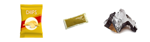 Chip bag wrapper, mustard packet, chocolate bar wrapper