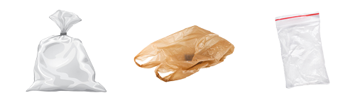 Picture of a large clear plastic bag full of materials, grocery shopping bag, and food storage bag
