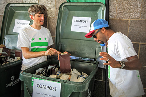 DC Staff sorting compost bins