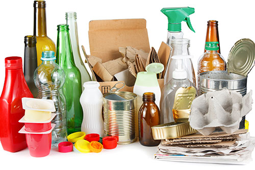 Recyclable items, glass, paper, plastic containers and metal.