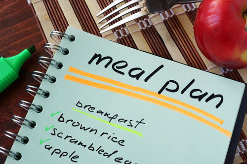 Meal Plan Image, notebook with grocery list