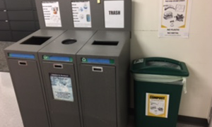 labeled sorting trash, recycle and compost bin