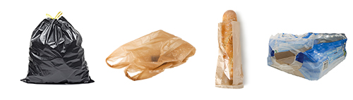 Picture of a large black plastic bag full of materials, grocery shopping bag, bread bag, and beverage case wrap